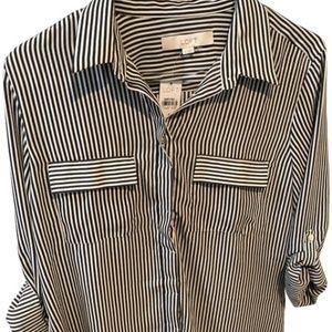 Loft | Striped Utility Blouse Button-Down Top